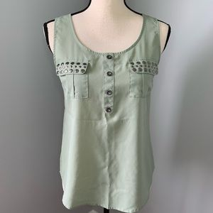 MINE Green Sleeveless Top with Silver Stud Pockets